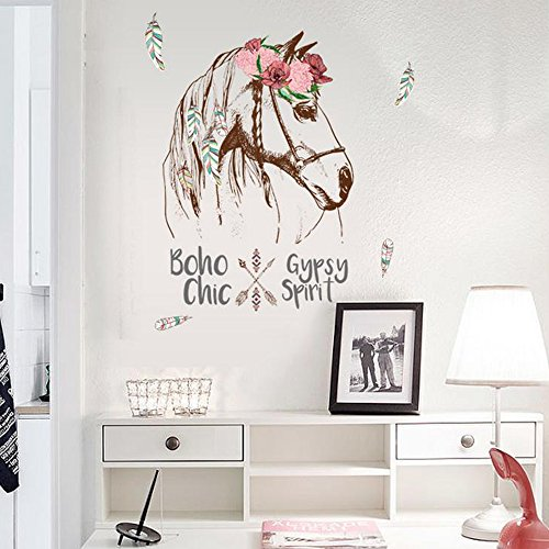 Cartoon Animals Wall Stickers Butterflies Flowers Photo Frames Height Measurement Wall Decals Home Decor Baby Boys Girls Kids Bedroom Kitchen Decoration (Feather Horse Head) (Kids Horse Bedroom)