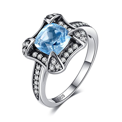 - JewelryPalace Retro 1.8ct Genuine Sky Blue Topaz Halo Ring 925 Sterling Silver Size 9