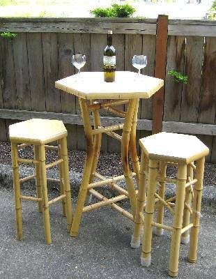 - Master Garden Products Tahiti Hexagon Bamboo Bar Bistro Table