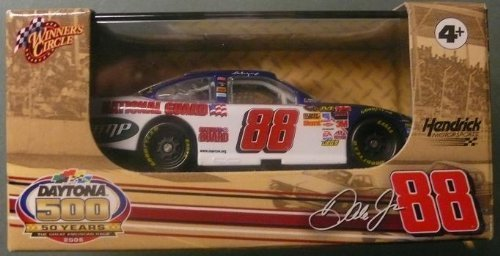 (2008 Dale Earnhardt Jr #88 National Guard Blue White Chevy Impala SS 1/64 Scale Car 50th Running of Daytona 500 Commemorative Outer Box 1/64th Scale Car With Hard Acrylic Plastic Display Case Winners Circle)