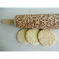 Rolling pin BELLFLOWER. Wooden embossing rolling pin with Oriental flowers. Embossed cookies. Pottery. Birthday gift. Gift for mother