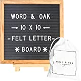 Gray Felt Letter Board | 10 x 10 inches | Changeable Letters | 304 White Plastic Letters & Oak Frame | by Word and Oak