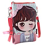 Naovio Cute Cartoon Mini Shoulder Bag Wallet Purse Cell phone Pouch with Adjustable Strap for Teens Girls Kids Students
