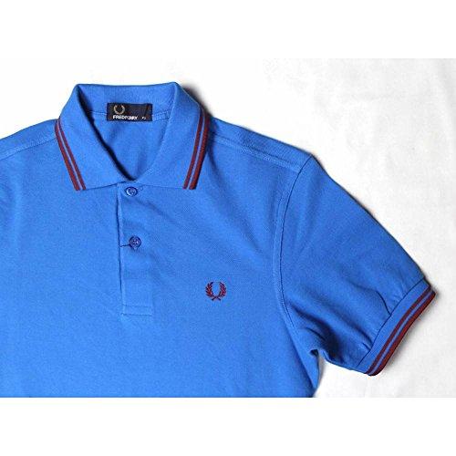 Fred Perry Herren Kurzarm Polo Blau - Rote Kontraststreifen - Größe XS