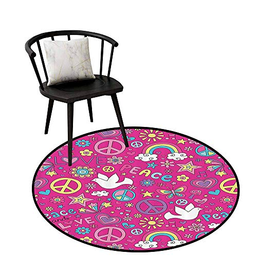 Printed Round Rug 1960s Decorations Collection for Bathroom Sunshine Birds Mushroom Acoustic Shooting Star Creative Design Magenta Pink Yellow Blue White D31(80cm)