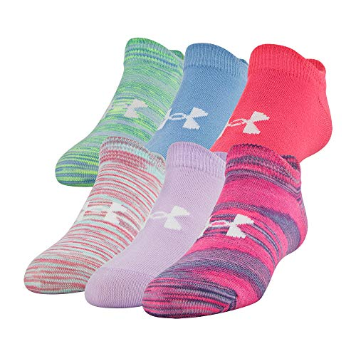 Under Armour Youth Essential No Show Socks, 6-Pair, Mojo Pink Assorted, 13.5K-4Y