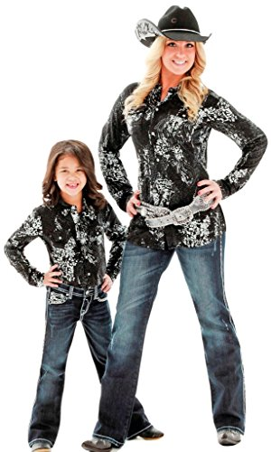 Cowgirl Tuff Western Shirt Girls Splatter L/S Button L Black H00273