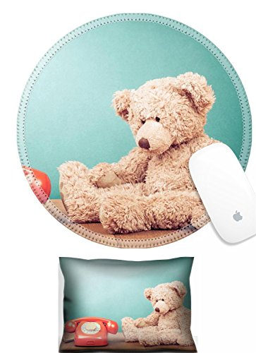 Satin Bear Green - Luxlady Mouse Wrist Rest and Round Mouse Wrist Set IMAGE: 23023681 Retro red telephone and Teddy Bear near mint green wall background