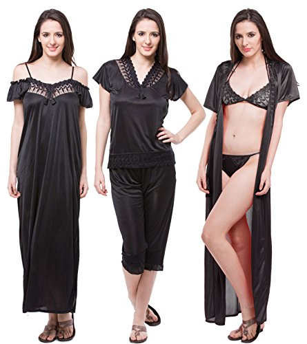 074b49be5f Fasense Women s Satin 6 Pcs Set Of Nighty Robe Top Capry Bra   Thong - Buy  Online in KSA. Apparel products in Saudi Arabia. See Prices