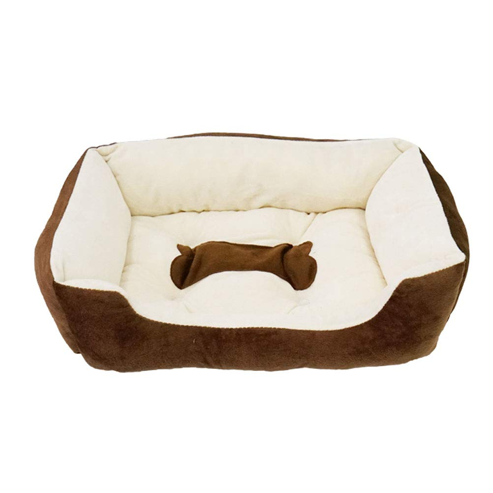 BROWN M BROWN M GCHOME Dog bed Dog Bed, Washable Non-slip Cat Bed Cat Nest Cat Sleeping Bag, Waterproof Breathable Plush Warm Cushion Indoor Medium Pet Nest (color   BROWN, Size   M)