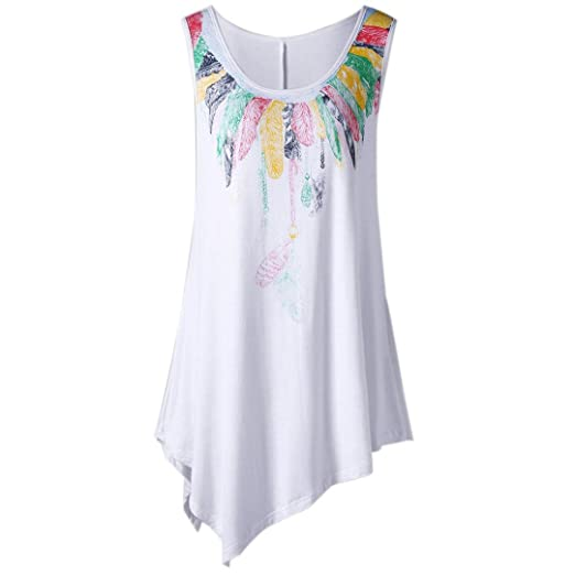 4bfda03cc6f Summer Tunic Tops, Women Casual Feather Print Loose Fit Asymmetric  Sleeveless Tank Tops Blouse Vest Shirts at Amazon Women's Clothing store: