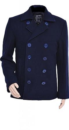 Seibertron Men's Woolen coat US Navy Type 80% Wool USN Pea Coat