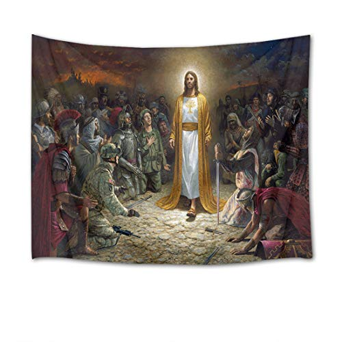 stry Wall Hanging Jesus with Christian Wall Blankets for Bedroom Living Room Dorm Decor,60Wx40H inches ()