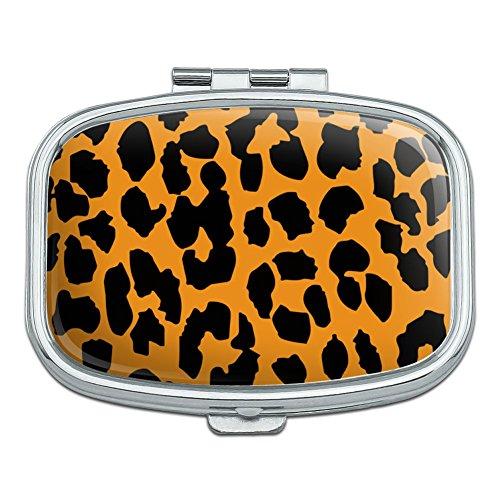 Leopard Print Orange And Black Rectangle Pill Case Trinket Gift Box
