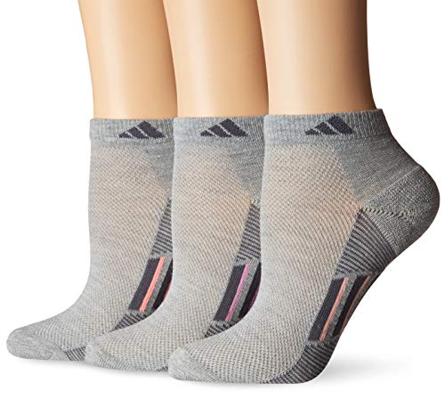 adidas Womens Superlite Stripe Low Cut Socks (3-Pair), Light Grey Heather/Onix/Bliss Orchid Light Flash O, Medium, (Shoe Size 5-10)