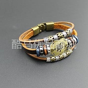 3e9500b1182b Amazon.com   Zodiac hand alloy leather bracelet Yiwu jewelry AliExpress  supply a generation of fat   Beauty
