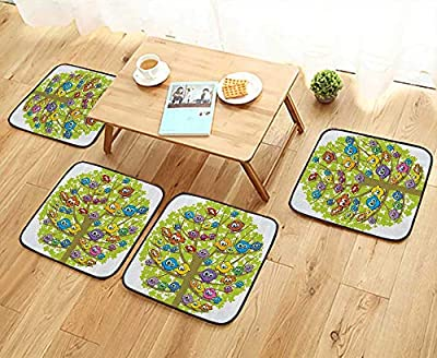 Printsonne Fillet Chair Cushion Carto Group of Fun Canary Bird mily Oak Tree Branches Animal Suitable for The Chair W13.5 x L13.5/4PCS Set