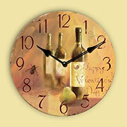 16 Retro Vintage France Wine Bottle Style Country Tuscan Style Non-Ticking Silent Wooden Wall Clock Art Decoration