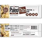 Paleo Thin 20g Protein Bar (Cookie Dough) 4 Net Carbs (w/Chocolate Chunks) (186 Calories)(Gluten-Free) 12 Bars
