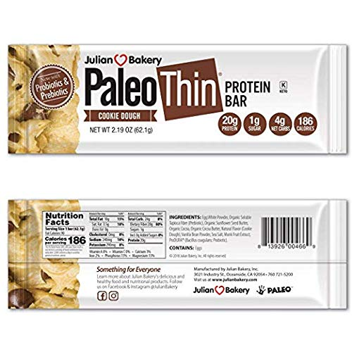 Paleo Thin® 20g Protein Bar (Cookie Dough) 4 Net Carbs (w/Chocolate Chunks) (186 Calories)(Gluten-Free) 12 Bars