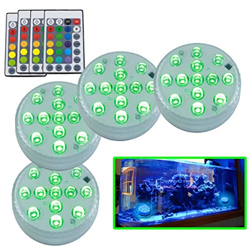 Alitade Submersible Led Lights AA Batteries(No inclued) Pool IP68 Waterproof Underwater Coolful Lights Aquarium Light with Remote for Fountain Pond Wedding Bathtub Vase Fish Tank Decorations(4Pack)