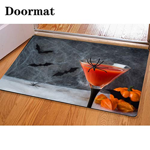 3D Printing and Dyeing,Bathroom Carpet, Door mat,Bloody Mary Cocktail Pumpkin with Bats and Spiders for Halloween Selective Focus Flannel Foam Shower mat, Absorbent Kitchen Door -