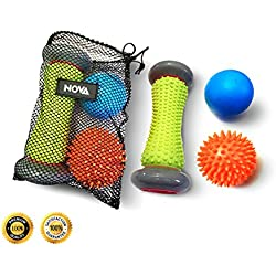 Foot Roller Massage Ball for Relief Plantar Fasciitis and Reflexology Massager for Deep Tissue Acupresssure Recovery for PLA Relax Foot Back Leg Hand Tight Muscle, 1 roller 1 Spiky Ball 1 Massage Ball