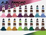 A.D. Pancho 16 Bottle Pro-Team Color Ink Set - World Famous Tattoo Ink - 1oz.