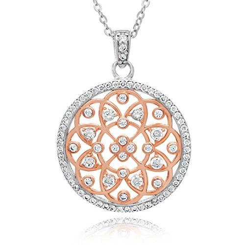 Sterling Silver CZ Filigree Flower Pendant Necklace, 17.5