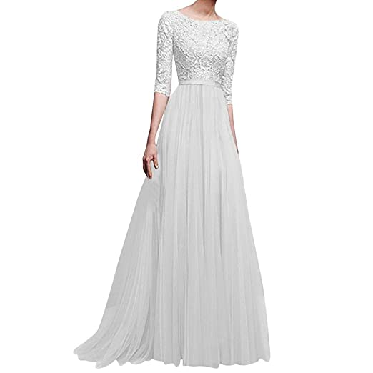 ce9e0d6b841f5 Women's Vintage Floral Lace 3/4 Sleeves Floor Length Retro Evening Cocktail  Formal Bridesmaid Gown Long Maxi Dress at Amazon Women's Clothing store:
