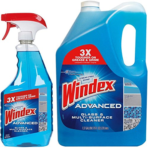 Windex Advanced Glass & Multi Surface Cleaner 1 946 ML Spray Bottle And 1 5.20L Refill Bottle