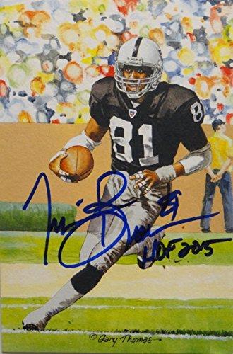 - Tim Brown Autographed Oakland Raiders Goal Line Art Card W/ HOF- JSA W Auth