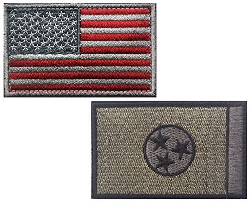 "HFDA 2 piece US Flag and BG TENNESSEE Flag Patches Velcro Morale Patches Cloth Fabric Badges Tactical Patches for Cap Jackets (2""x3"", Color 7)"