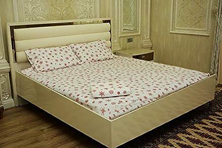 Queen//Size Snowflake RED FLAROVAN/%100 Cotton Heavyweight Flannel Bed Sheet Set