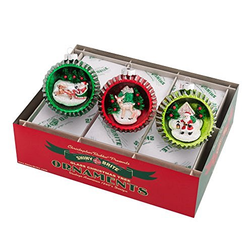 Holiday Splendor Scene Deer Santa 3.25 Inch Glass Ball Christmas Ornaments Boxed 3 Piece Set