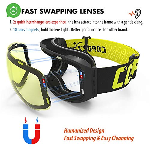 Fire Run Magnetic Ski Goggles with 2s Quick-Change Lens and Case Set UV400 Protection Anti-Fog Snowboard Ski Glasses for Men Women
