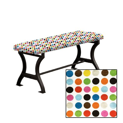"Wood and Metal 18"" Tall Universal Bench with a Padded Seat Cushion Featuring Your Favorite Novelty Themed Fabric (Large Colorful Dots) (Banquette Seats)"
