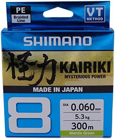 8 x Geflochtene Angelschnur 300 Meter Shimano Kairiki SX8 Mantis Gr/ün