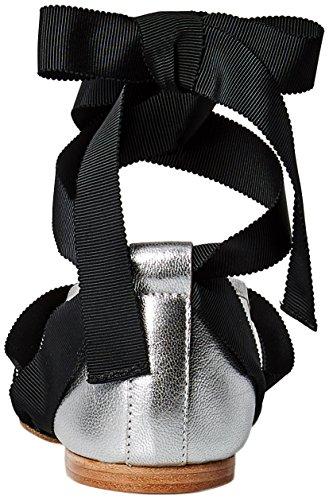 perle Sølv Randall Loeffler metallisk Leathergrosgrain F Flat Ballet Sort wrPqE4qnU