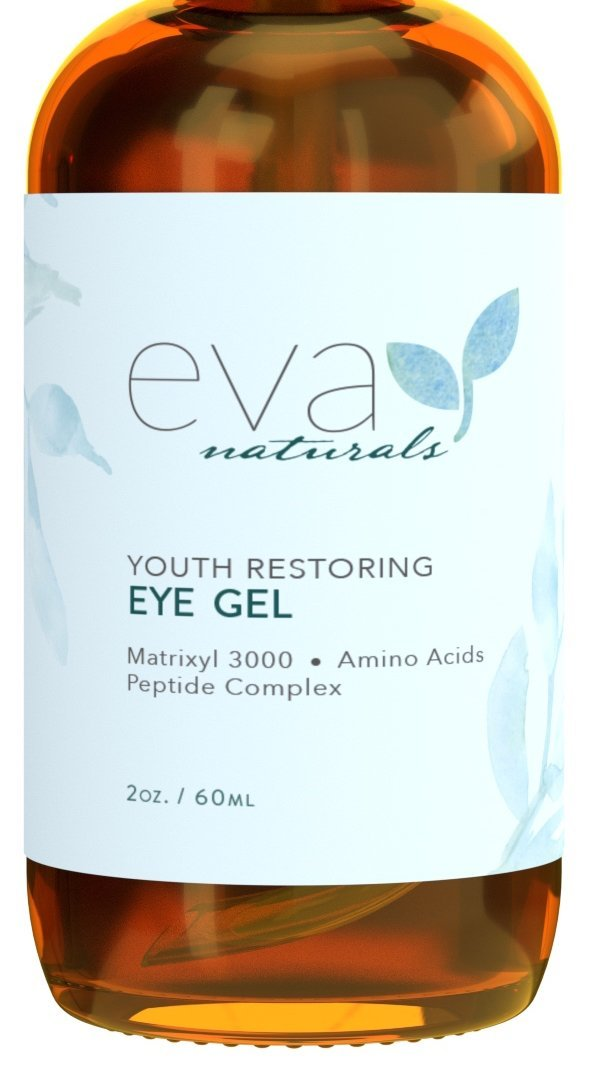 Eye Gel - Larger Size 60 ml Bottle - Best Firming Eye Cream Treatment for Dark Circles, Puffy Eyes, Crow's Feet, Fine Lines & Under Eye Wrinkles by Eva Naturals