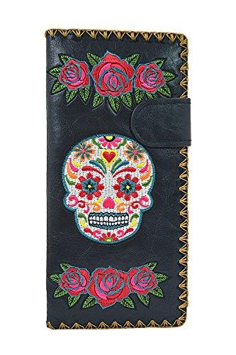 Lavishy Rockabilly Rose & Sugar Skull Day of the Dead Embroidered Large Wallet (Black)