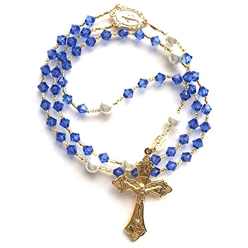 Rana Jabero Gold Plated Sapphire Blue (September Birthstone) Swarovski Crystal and Glass Pearl Rosary