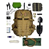 Tactical Backpack + Hydration Bladder, Pre-Filled with Emergency Tools & Survival Gear