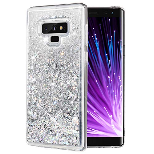 Caka Galaxy Note 9 Case, Galaxy Note 9 Glitter Case [Liquid Series] Sparkle Fashion Bling Luxury Flowing Liquid Floating Glitter Soft TPU Clear Case for Samsung Galaxy Note 9 - (Silver)