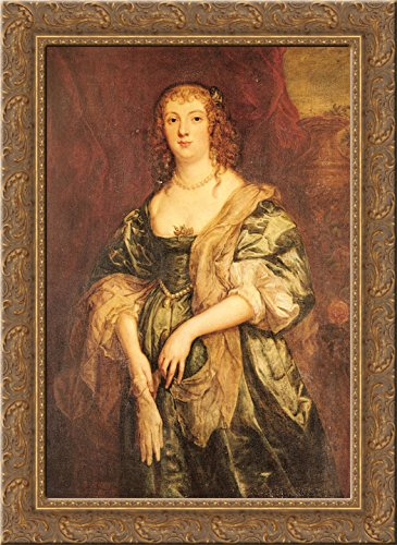 Portrait of Anne Carr, Countess of Bedford 24x18 Gold Ornate Wood Framed Canvas Art by Anthony van Dyck ()