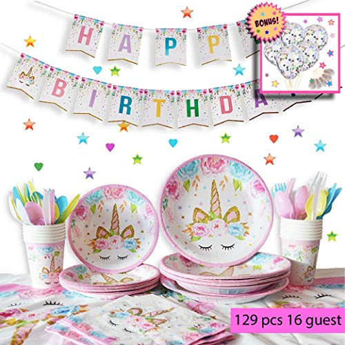 Unicorn party pack | Decorations | Supplies | Birthdays! | 16 Guest | No clean up! | Girls, kids party | BONUS! 10 confetti balloons!