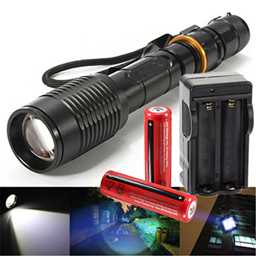 Splendid Popular 3000 Lumen LED 5-Mode Flashlight Zoomable 18650 Rechargeable Pocket Light Color Black with Battery (Xm Radio Stations For Halloween)