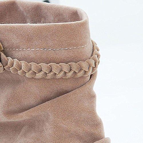 Beige E Botines Minetom Moda Zapatos Cómodo Flecos Invierno Cargadores De Calentar Mujer Otoño Botas qOOEw4B