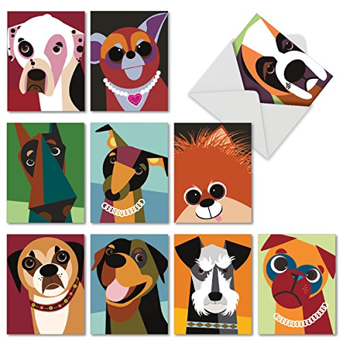 M6632TYG Cubic Canines: 10 Assorted Thank You Note Cards Featuring Funky Portraits of Best Loved Dog Friends, w/White Envelopes.
