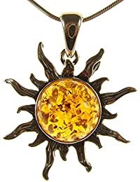 "BALTIC AMBER AND STERLING SILVER 925 SUN PENDANT NECKLACE - 14 16 18 20 22 24 26 28 30 32 34"" 1mm ITALIAN SNAKE CHAIN"